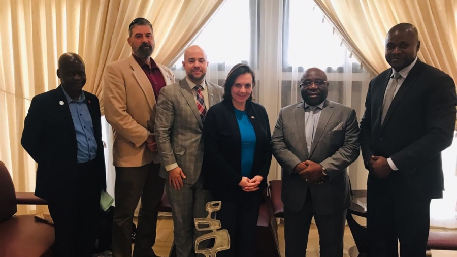 Left to right: Colonel Pierre MAWA, Advisor to the Minister of Defense, George Boyuk, Anthony Di Carlo, Dr. Shelly Whitman, His Excellency Aime Ngoi Mukena, Minister of National Defense and Veterans, Arsene Tshidimu